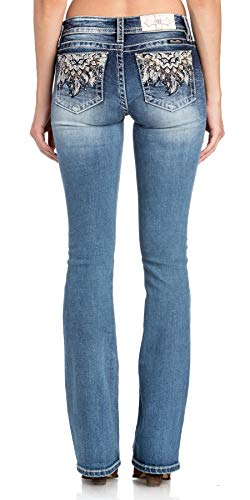 Miss Me Women's Mid Rise Chloe Boot Cut Jeans, Dark Blue, 29