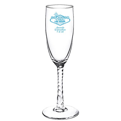 Personalized Color Printed Twisted Stem Champagne Flute - Las Vegas Sign - Blue - 72 pack