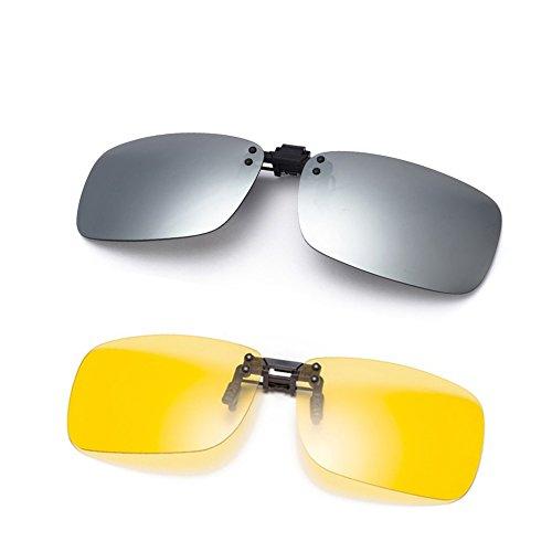 Cyxus [2 Pack] Polarized Lenses Classic Clip-On Sunglasses, [Anti-glare] [UV Protection] Driving/Fishing Eyewear, Mens & - Sunglasses Polar Eyes