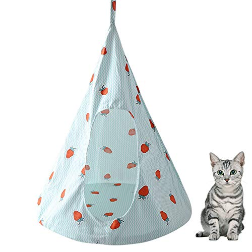 AOFITEE Cat Hammock Bed Kitten Hanging Perch, Pet Linen Cotton Swing Hammock Lounge Cradle with Soft Cushion for Cats Small -