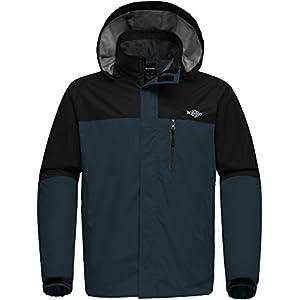 Wantdo Men's Breathable Waterproof Rain Jacket Outdoor Windproof Sportswerar for Hiking Softshell Windbreaker with Hood