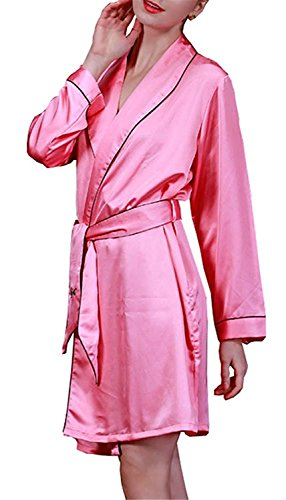 Also Esay Women's Satin Robe Lingerie Sleepwear RedMedium (Isso E Halloween)