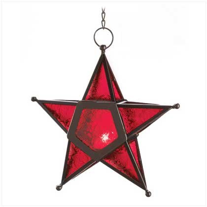 Gallery of Light 12288 Red Glass Star Lantern, Multicolor (Morroccan Lanterns)
