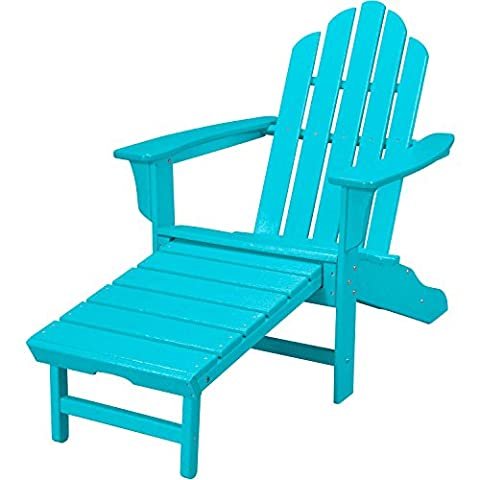 Hanover Outdoor Furniture HVLNA15AR All Weather Contoured Adirondack Chair with Hideaway Ottoman, (Adirondack Chairs With Ottoman)