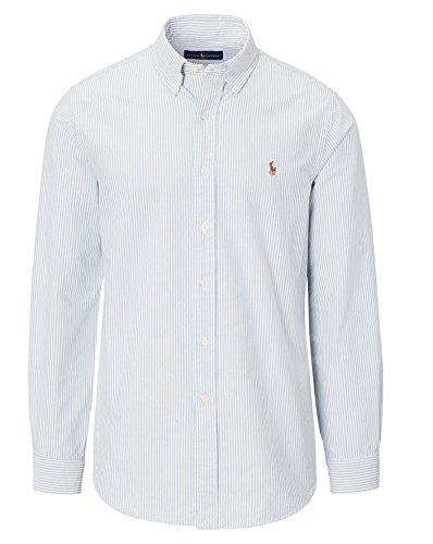 Polo Ralph Lauren Mens Long Sleeve Oxford Button Down Shirt  Medium  Striped Blue White