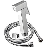 PESCA Imported Brass Health Faucet with Stainless Steel Grade 304 Tube and Wall Hook (Chrome)