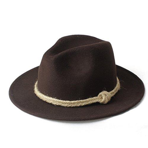 Hat Women Men Winter Fedora Hemp Rope Elegant Lady Caps (Color : 9, Size : 57-58CM)