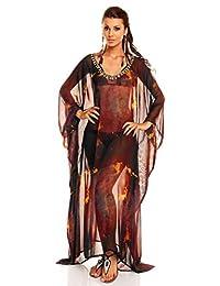 Ladies Full Length Kimono Maxi Summer Beach Throw Kaftan Dress Free Size