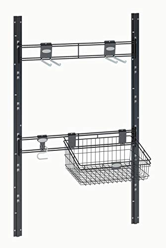 Suncast Sierra Tool Hooks - Closet System for Mounting in Sheds - Includes Three Hangers and Vertical Brackets to Hold Garden Supplies, Tools, Toys, Outdoor Accessories - Black