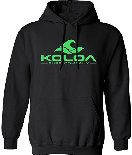 Koloa Surf Classic Wave Logo Surf Hoodie, Hooded Sweatshirt-L-Black/Green