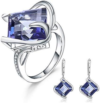 AdronQ® Pendientes de Anillo de Cuarzo místico Azul Natural Conjunto de Joyas de Mujer 925 Joyas de Piedras Preciosas geométricas de Plata esterlina