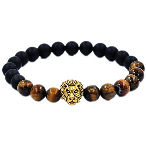 Willsa Women Men Fashion Lion Beads Elastic Tibet Style Charm Bracelet - Gold Lion 14k Charm