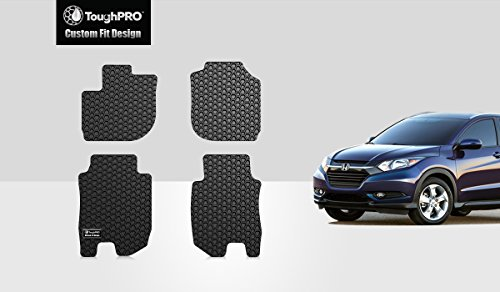 ToughPRO Floor Mats Set (Front Row + 2nd Row) Compatible with Honda HR-V - All Weather - Heavy Duty - (Made in USA) - Black Rubber - 2016, 2017, 2018, 2019, 2020 ()