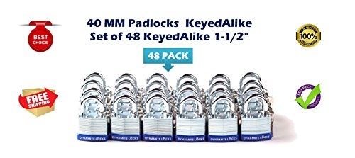 48 PC padlocks keyed alike 48-pack LAMINATED PADLOCK 40MM KEY ALIKE SHORT SHACKLE COMMERCIAL GRADE SECURITY PAD LOCKS PADLOCK KEYED THE SAME A LIKE by Generic