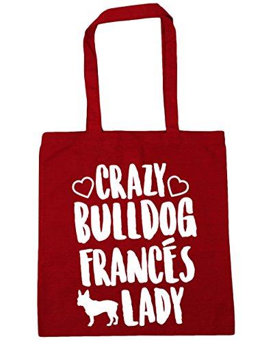 10 Bolsa Asas Compra gimnasio Francés litros Rojo Con 38cm Bolso 42cm Bulldog de Playa x capacidad HippoWarehouse Lady para Crazy a0vqv