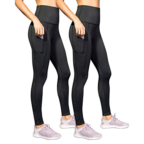 Century Star Stretchy Yoga Pants with Pocket for Women High Waist Quality Control Workout Leggings 2 Pack-Black Medium
