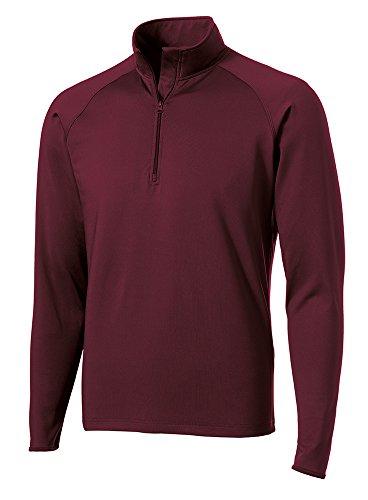 Dri-Equip Moisture Wick Stretch 1/2-Zip Pullover Sweatshirt-M-Maroon