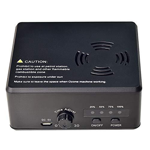 BPSHINE Portable Ozone Generator Mini air Deodorizer USB Rechargeable Air Purifier Sterilization Ozonator for Car, Rooms, Pet, Office Black