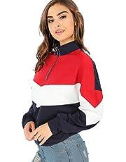 SweatyRocks Women's Pullover Sweatshirts Long Sleeve Casual Loose Zip Up Jacket Outwear Navy XL