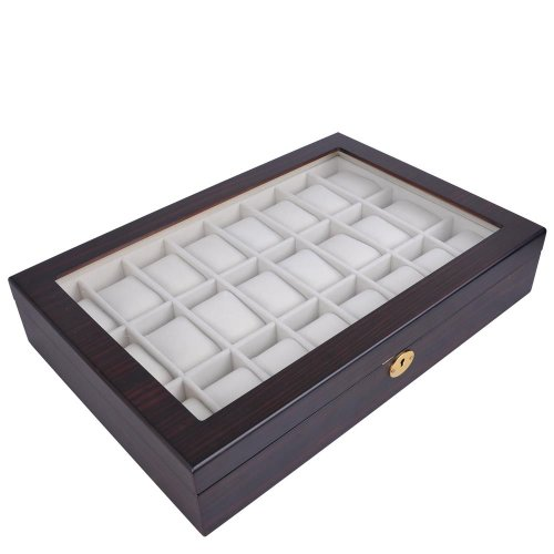 24 Watch Display Wooden Case - Ebony Matte Stain with Glass Top by Generic (Image #3)