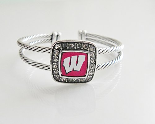 (Officially Licensed Wisconsin Badgers Crystal Studded Cable Cuff Bracelet)