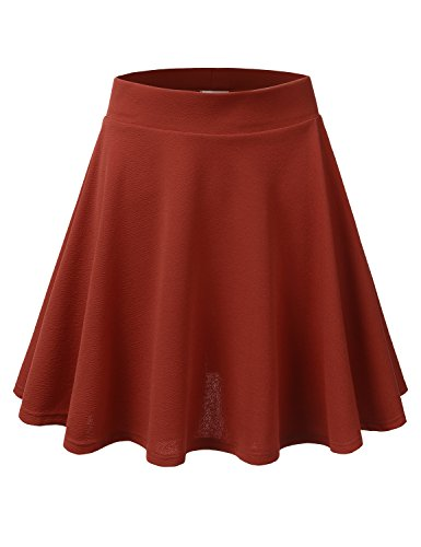 Doublju Stretchy Flare Mini Skater Skirts For Women With Plus Size (Made In USA) Rust X-Large