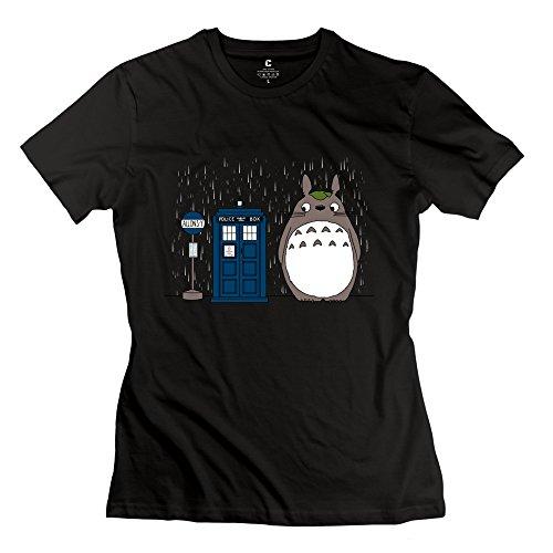 Women Totoro T-Shirt XXL Black O Neck Geek T-Shirts by yisw