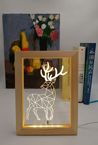 Kevmiya Deer lamp with LED Picture, 9X6.7X0.8in, Cute lamp and Decor for Sleeping Night Lighting, Also as a Beautiful Gift for Kids (Deer)