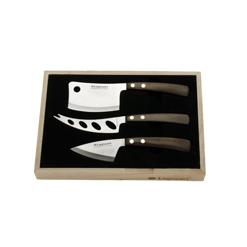 Legnoart LA-CK-10A Latte Vivo Cheese Set with Dark Wood Handle in Wooden Crate, Dark ()