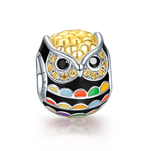 NinaQueen 925 Sterling Silver Gold Plated Owl Charms with Zirconia,