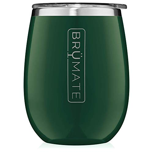 BrüMate Uncork'd XL 14oz Wine Glass Tumbler With Splash-proof Lid - Made With Vacuum Insulated Stainless Steel (Emerald) (Steel Emerald)