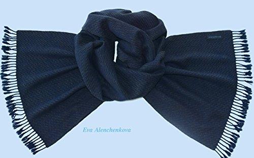Men's Silk Cashmere Winter Green Blue Hand Woven Scarf by Eva Alenchenkova