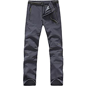 Mens Softshell Pants Waterproof Windproof Hiking Outdoor Soft Shell Trousers 1607 Grey Large