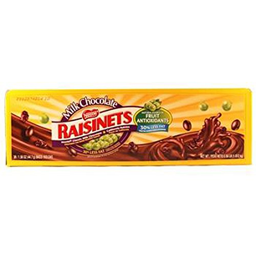 Raisinets Milk Chocolate W/Raisins, 36 Count (CHOC. CANDY - REGULAR SIZE) (Raisinets Raisins Covered Chocolate)