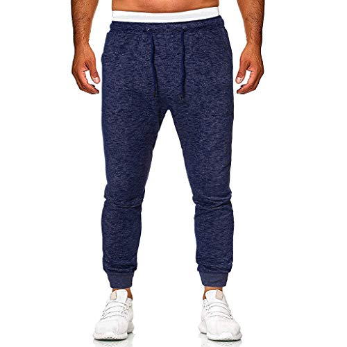Summer Tracksuit Pants for Men, Huazi2 Slim Fit Drawstring Sport Sweat Trousers Blue