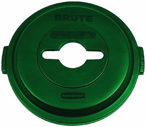 l 1788471 BRUTE Heavy-Duty Round Waste/Utility Container, 32-gallon Single-Stream Recycling Lid, Green (32 Gal Brute Waste Container)