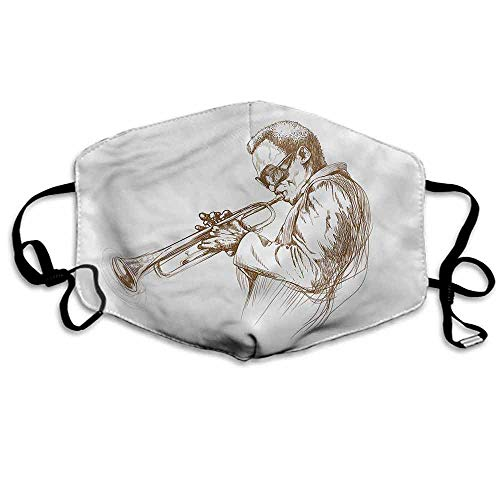 (Music Fashion Mouth Mask Sketchy Solo Jazz Band for Cycling Camping Travel W4