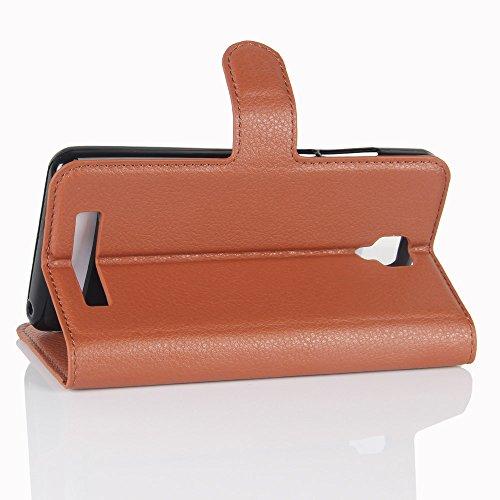 Lusee® PU Caso de cuero sintético Funda para Doogee X10 5.0 Pulgada Cubierta con funda de silicona violeta marrón