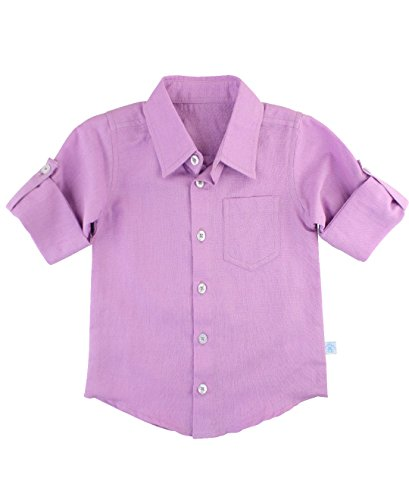 RuggedButts Little Boys Long Sleeve Button Down - Lilac - (Purple Plaid Woven Shirt)