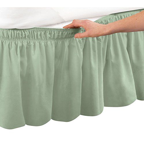 Collections Etc Wrap Around Bed Skirt  Easy Fit Elastic Dust Ruffle  Sage  Queen King
