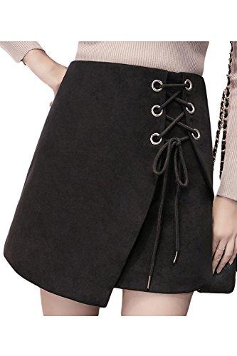 Haute Taille Oeillets Une Daim Des Black Les En Femmes Solide Jupe YFwHqP0