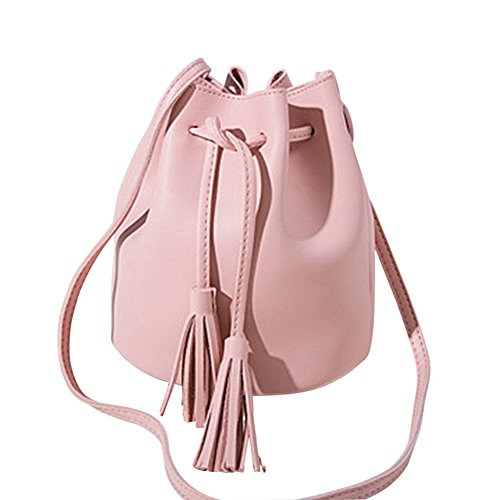 Crossbody Bag Shoulder Leather Woopower Mini Handbag Tassel Pink Small Purse Drawstring Vegan Bucket aHOH8qfxn