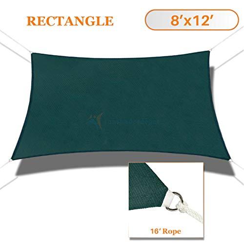 Sunshades Depot 8' x 12' Sun Shade Sail Rctangle Permeable Canopy Dark Green Custom Commercial Standard ()