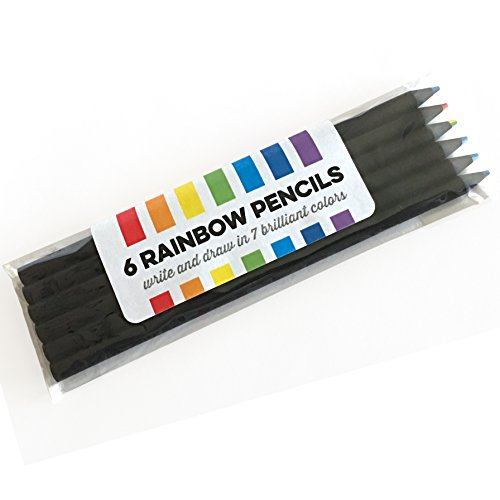 Black Wood Rainbow Colored Pencils - Write and Draw in 7 Brilliant Colors (set of 6 pencils) ()