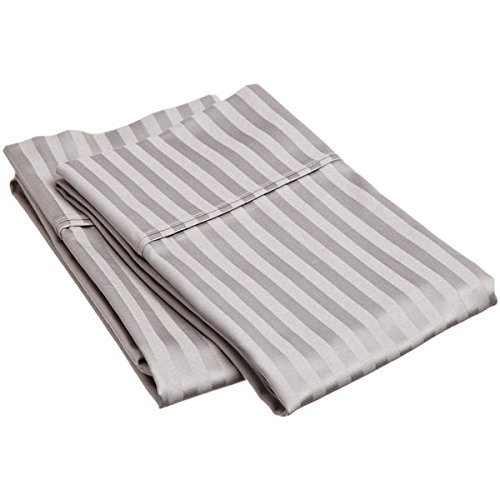 - True Linen Offers - 100% Egyptian Cotton Pillowcases - 400 TC Egyptian Quality Set of 2 Pillow Cases - Silky Soft 2pc Pillow Cover Light Grey Stripe, King (20X40)