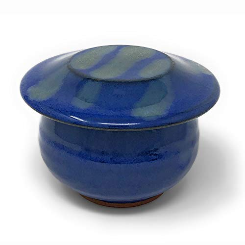 - Dock 6 Pottery French Butter Keeper, Blue with Accents