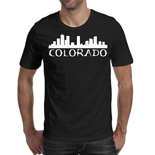Colorado City Skyline Silhouette Mens Short Shirts New Casua