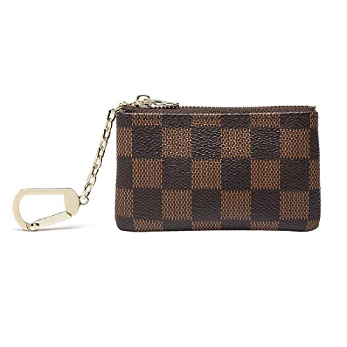 Qeggs Luxury Zip Coin Purse Checkered Key Chain Pouch Mini Wallet for Women
