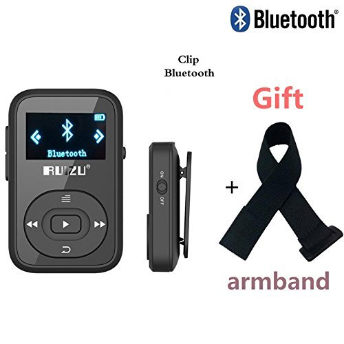 DeeFec Portable Clip Sport Bluetooth MP3 Player 8GB Lossless Sound Music Player with FM Radio Voice Recorder Supports Micro SD Card up to 64GB + Free Sport Armband (Dark Blue)