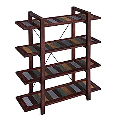 VASAGLE Bookshelf, 4-Tier Bookcase with Solid Wood Legs, Storage Rack, Shelving Unit for Living Room, Kitchen, Office, Entryway, Country Brown ULLS03GL - A POP OF COLOR: Brown, yellow, green, blue—find your favorite hue on the charming colorful boards surrounded by a dark country brown and spice up your home with this 4-tier bookcase to express your personality STANDS THE TEST OF TIME: Supported by solid wood legs, reinforced by an X-bar, and secured by an anti-tip kit, this bookshelf offers a load capacity of 44 lb per shelf for your ever-growing collection and will stand the test of time like those great classics VERSATILITY IN A NUTSHELL: One of the best things about this bookshelf is that the name is just a suggestion—it can serve many purposes; use it as a display stand for decorations, in the kitchen for spices and bowls, or in the entryway for to-go necessities - living-room-furniture, living-room, bookcases-bookshelves - 41KcGQhPaRL. SS400  -
